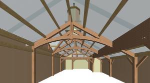 classic car garage interior rendering